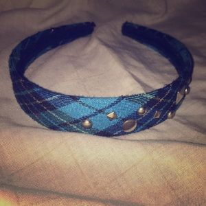 Accessories - Plaid Hair band with studs.